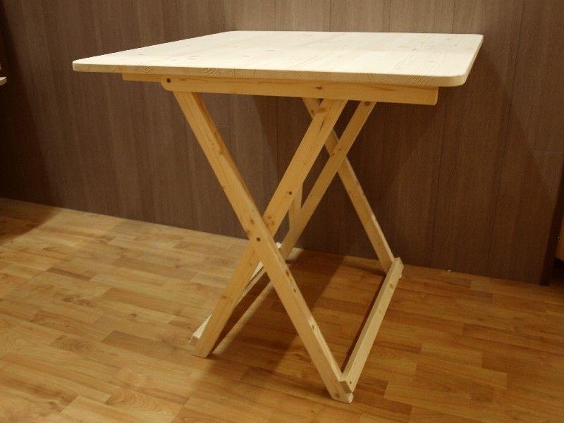 Market del legno tavolo pieghevole 80x80 h 77 abete grezzo - Tavolo in legno pieghevole ...