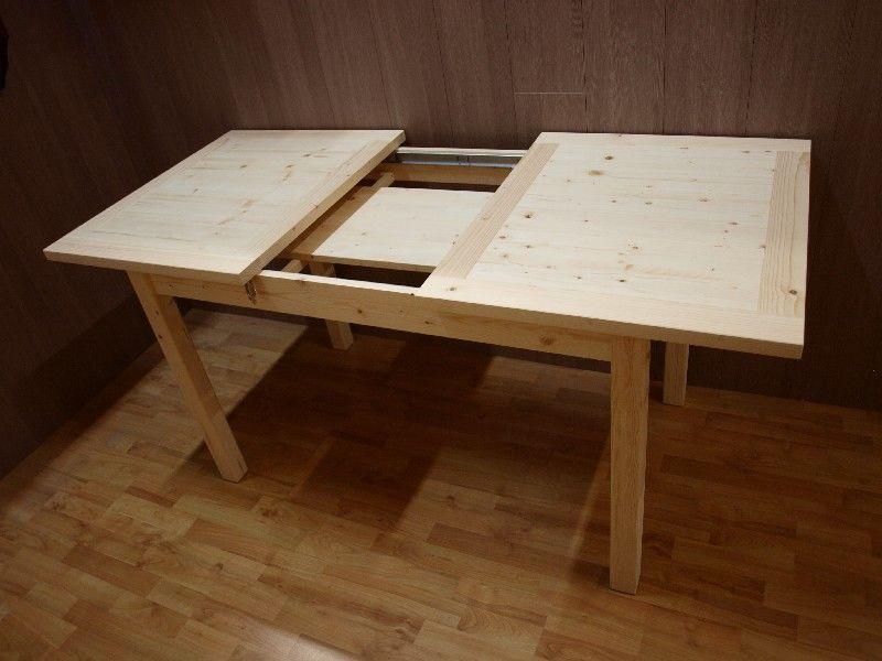 Market del legno tavolo allungabile in abete grezzo for Tavoli in legno allungabili massello