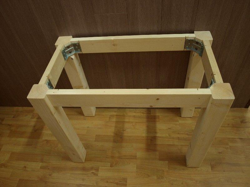 Market del legno: tavolo in legno solo fusto per piani in marmo o ...